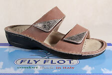 Fly Flot Ladies Slippers Slippers House Shoes brown genuine leather NEW