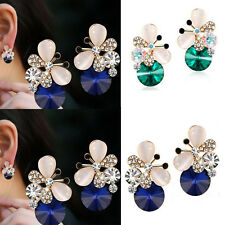 1 pair Women Asymmetric Elegant Rhinestone Jewelry Butterfly Stud Earrings
