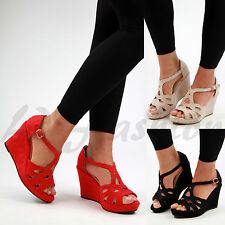 New Womens High Wedge Heel Platform Sandals Peep Toe Ankle Strap Summer Shoes