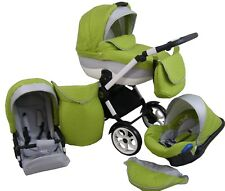 Pram Leder MAE Pushchair Buggy Stroller+Car Seat, Modern Travel System 3 in1