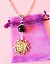 flower of life pendant necklace Sacred Geometry Reiki Yoga filigree gemstone