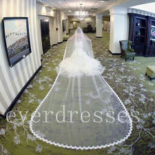 6 Meters Lace One Layer Long Bridal Veils White Ivory Wedding Veil with Comb New