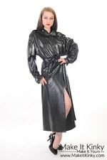 Double Breasted Mac - Plastic PVC Clothing Fetish Kinky Gear Coat Jacket