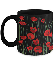Coffee , Tea 11  / 15 oz  Ceramic Mug Field of Red Poppies Flower ; Poppy Cup
