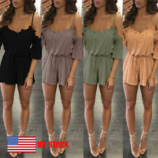 Women Lace-up Sling Flared Short Sleeves Casual Mini Romper Playsuit Jumpsuit