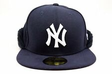 New York Yankees Navy White Knit Flip Down New Era Winter 59Fifty Fitted Hat Cap