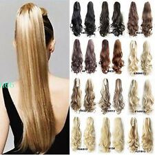 Extra Thick Real Claw On Ponytail Clip In Hair Extensions Long As Human HAIR PN5