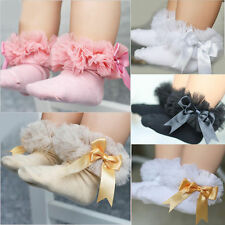 Infant Baby Girls Kids Princess Bowknot Lace Ruffle Frilly Trim Ankle Socks 0-6Y