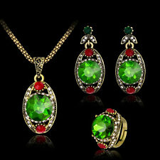 Women Retro Green Rhinestone Pendant Necklace Earrings Ring Jewelry Set Dreamed
