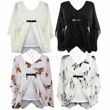 Ladies Womens Chiffon Sheer Butterfly Belted Blouse Batwing Gypsy Drape Top 8 14