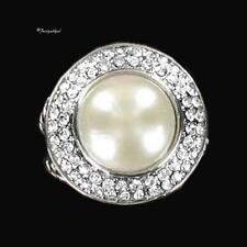 14K WHITE GOLD GP CZ AND MABE PEARL RING IN SIZES
