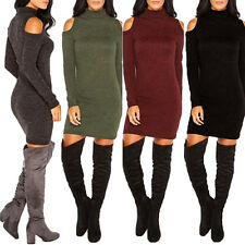 Women Sexy Bodycon Knitting Off Shoulder Long Sleeve Party Slim Dress Novelty