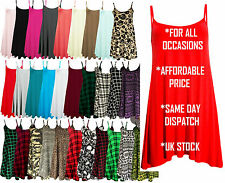 Womens Sleeveless Cami Swing Dress Floaty Flared Strappy Skater Long Top UK cmiL