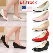 Women's Wedges Stiletto Round Toe High Heel Platforms Office Casual Pumps Shoes