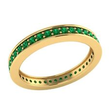 0.60 ct Round Green Emerald Solid Gold Full Eternity Wedding Band Ring Size O