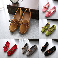 Women Comfy Suede Square Toe Bow tie Casual Slip On Flats Loafers Oxfords Shoes