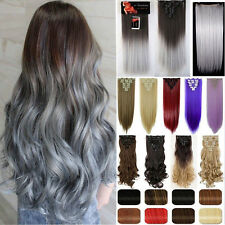 Real Full Head 8Pcs 18Clips Clip In On Hair Extensions Brown Blonde Black Ombre