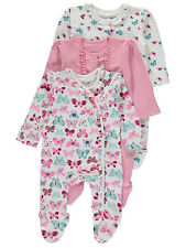 George Baby Girl Butterfly Print Sleepsuits Rompers All In Ones 3 Pack