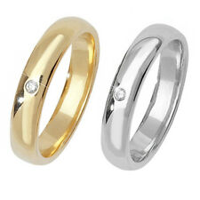 9ct Wedding Ring Yellow Or White Gold Set with a Single Diamond (0.2ct)