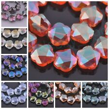 10/50pcs 14mm Faceted Flower Charms Glass Crystal Findings Loose Spacer Beads