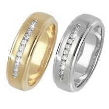 9ct Wedding Ring Yellow Or White Gold Diamond Set