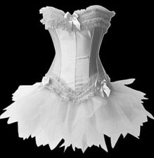 PLUS SIZE Womens Moulin Rouge Burlesque Overbust Corset & Tutu Skirt Fancy Dress