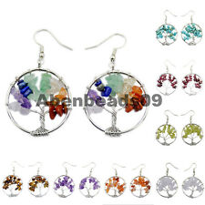 Silver Tree of Life Wire Wrap  Crystal Quartz Chip Bead Hook Earrings 30mm