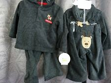 Christmas Boy Infant 2 piece grey fleece Reindeer hooded outfit, 3/6M