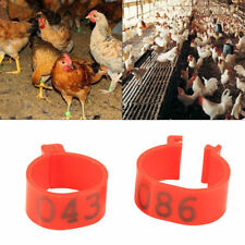 100X/Bag 16MM 001-100 Numbered Clip On Leg Rings for Chickens Ducks Hens Poultry