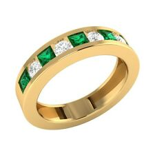 0.78 ct Princess Emerald & Round Sapphire Solid Gold Half Eternity Band Ring