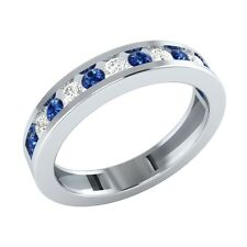 0.48 ct Round Blue & White Sapphire Solid Gold Half Eternity Wedding Band Ring