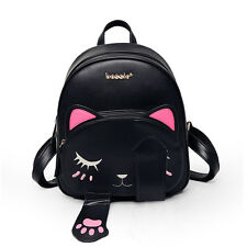 Women's Fashion Cute Cat Girls School Backpacks with Magnet Leather Travel Bag