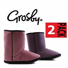 2 PAIRS x WOMENS GROSBY PINK / PURPLE HOODIES UGG SLIPPERS SHORT BOOT BOOTS S-XL