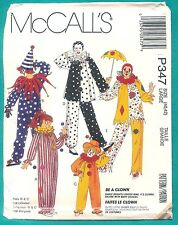 UNcut JESTER JOKER MIME CIRCUS CLOWN HALLOWEEN COSTUME PATTERN Adult/Child Sizes