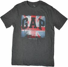 Gap Mens London England British Flag Graphic Crew Neck Short Sleeve T-Shirt Grey