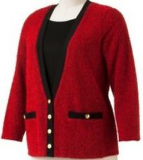 Cathy Daniels Womens S Small Boucle Mock Layer Button Sweater Top Red Black
