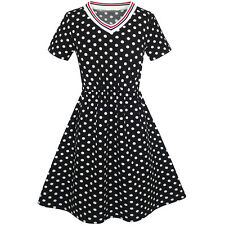 Girls Dress Black White Dot Short Sleeve Back School Dress Size 3-12