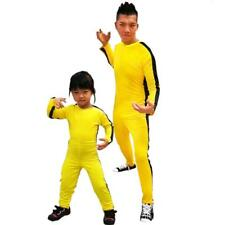 Adult Kids Bruce Lee Kung Fu Costume Stretchy Bodysuit Outfit Fancy Dress Yellow