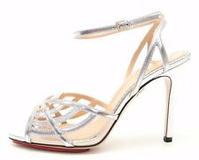"CHARLOTTE OLYMPIA ""OCTAVIA 100"" silver leather sandals sz. 38, 38.5, 40 NEW!"