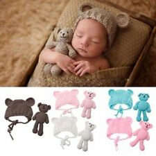 0-6M Baby Crochet Knit Toy Bear + Hat Costume Photography Props Photo Outfits