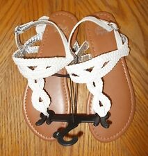 Girls Size 6 Faded Glory Brand White Braided Sandals NWT