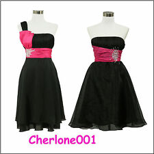 dress190 Black/Hot Pink Jewelled Chiffon Swing Party Prom Cocktail Vintage Dress