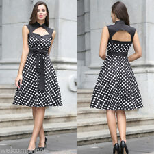 Vintage Women Polka Dot Sleeveless Casual Evening Party Cocktail Bowknot Dress