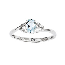 925 Sterling Silver Aquamarine Double Heart Form Ring