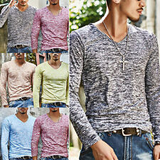 New Men's Slim Fit Tee V Neck Long Sleeve Cotton Casual T-shirt Tops Blouse Lot