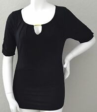 Tua Stretch Gathered Sleeve Tunic Top w/ Gold Keyhole Accent Black Plus 1X 2X 3X