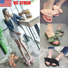 US Women Comfortable Rubber Bow Slider Flat Slippers Casual Beach Shoes Size 4-8
