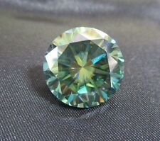 HYPNOTIC! 18.79 ct VVS1 17.39 mm FANCY GREEN BLUE PEACOCK LOOSE ROUND MOISSANITE