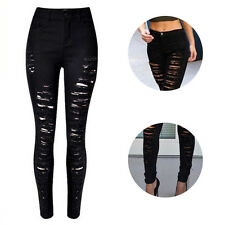 Women Fashion High Waist Destroyed Skinny Ripped Jeans Sexy Trousers Hot Jeans