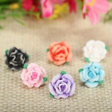 50pc/lot 13mm Cute Resin Small Polymer Clay Fimo Rose Flower Beads Diy Bracelet